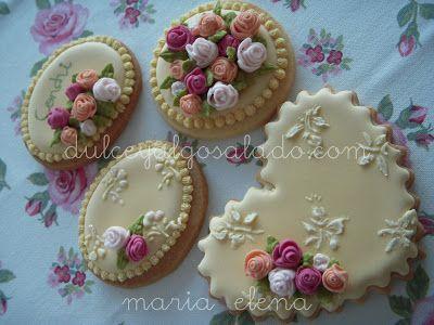dulce y algo salado-cursos de galletas decoradas: Galletas decoradas..todo rosas..todo glasa!!