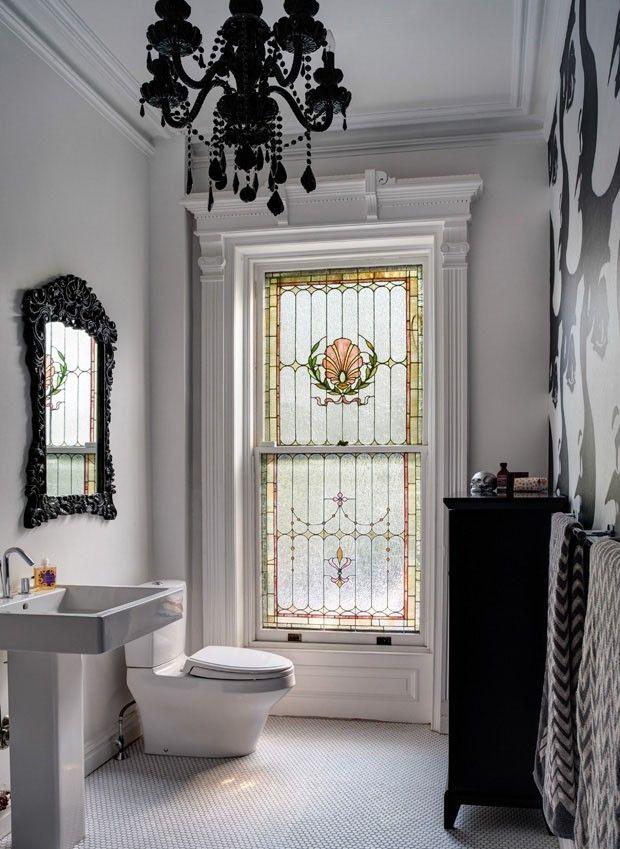 Décor do dia: banheiro preto e branco vintage