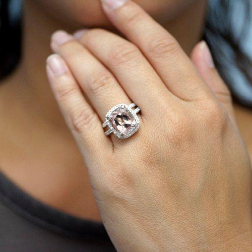 14K White Gold 12x10 Cushion Cut Morganite Diamond Halo Classic Morganite Engagement Ring Bridal Wedding Anniversary Ring