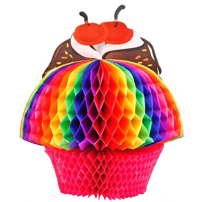 Decoratie bol cupcake 20 cm. Fel gekleurde cupcake decoratie bol in regenboog kleuren van ongeveer 20 cm groot.
