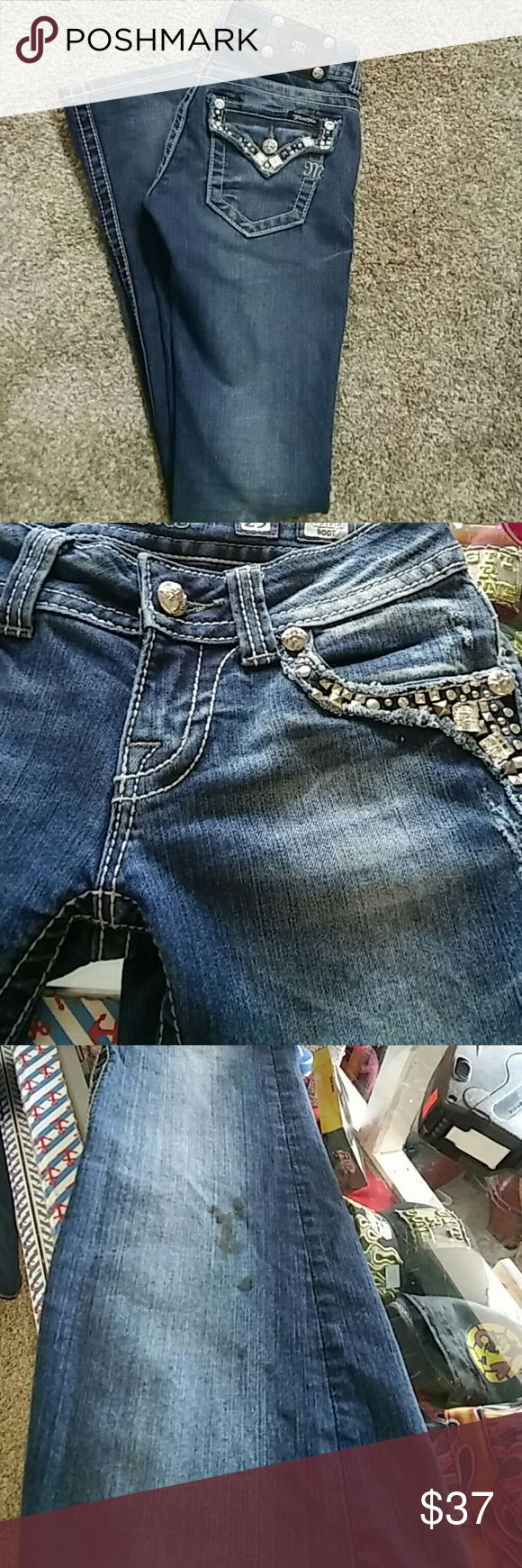 Miss Me boot cut jeans Clearance price this jean have a couple stains i dont know if are removable shows in picture Miss Me Jeans Boot Cut