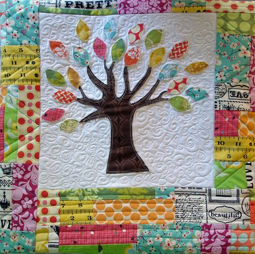 Tree pillow, love the applique and quilting