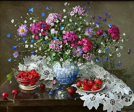 Lydia Datsenko. Flowers and berries - lydia datsenko, bouquet, flower, art, berrie, painting