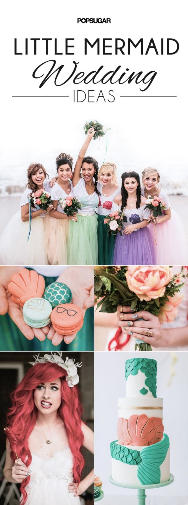 If you love the idea of having a Disney princess themed wedding, get some inspiration from this Ariel inspired bride and her Prince Eric.