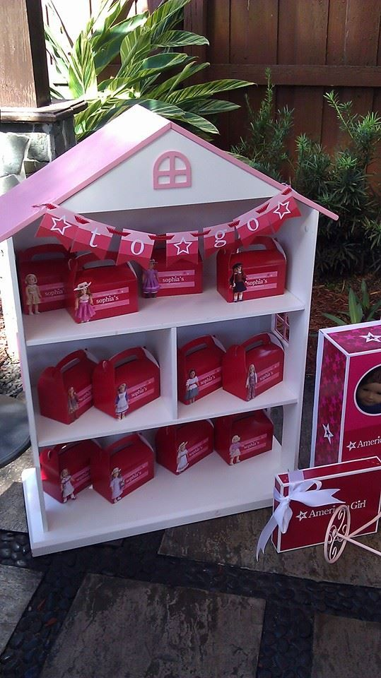 """American Girl Birthday Party Goodies Gables Boxes 6.25"""" X 3.5"""" X 6""""  Banner available on our Etsy shop"""