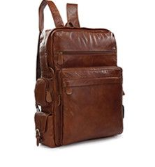 Soft Leather Multipocket Travel Back Pack - Large Front Pocket    ****this here is TOO DOPE