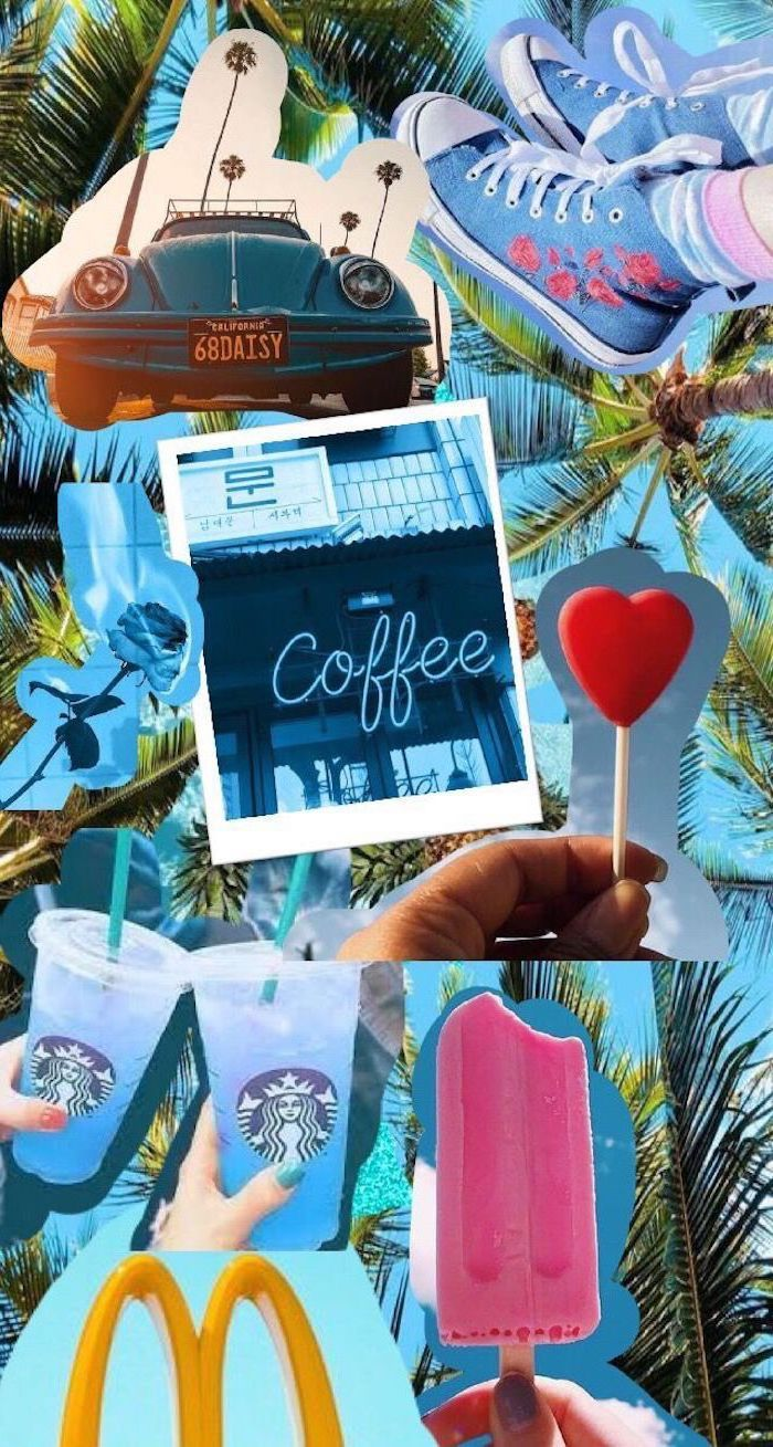 Photo Collage Coffee Starbucks Ice Cream Vintage Car Girly Wallpapers Sneakers Lollipop In 2020 Aesthetic Iphone Wallpaper Wallpaper Iphone Cute Cute Wallpapers
