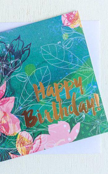 Happy Birthday Card Ink Foil Illustration