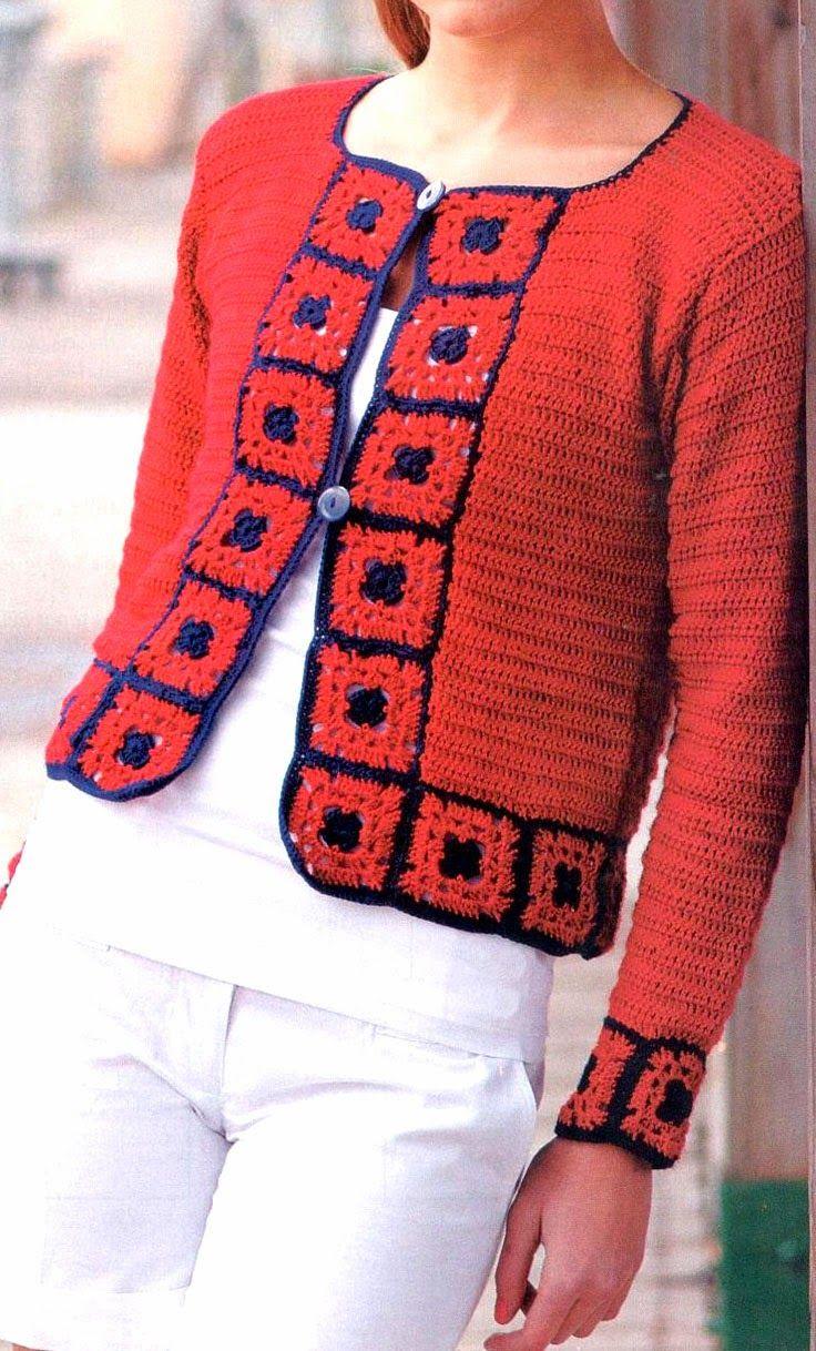 Los colores del verano están plasmados en este saco, muy fácil de tejer.    Simpleza en las formas y originalidad en el diseño de escote y puños.