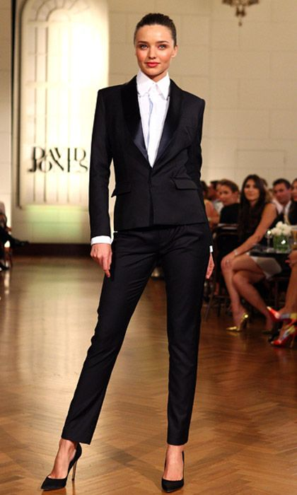 """""""The tuxedo is a modern, wardrobe classic that every woman should own. This season opt for a sleeker silhouette with cigarette (not palazzo) pants, a strongly nipped waist and hip-cut jacket. Miranda Kerr opened the David Jones A/W show in this super sleek Josh Goot tux and told me: """"A tuxedo says 'I'm here, I'm strong and I mean business"""". It does. You need one."""" -- Paula Joye"""