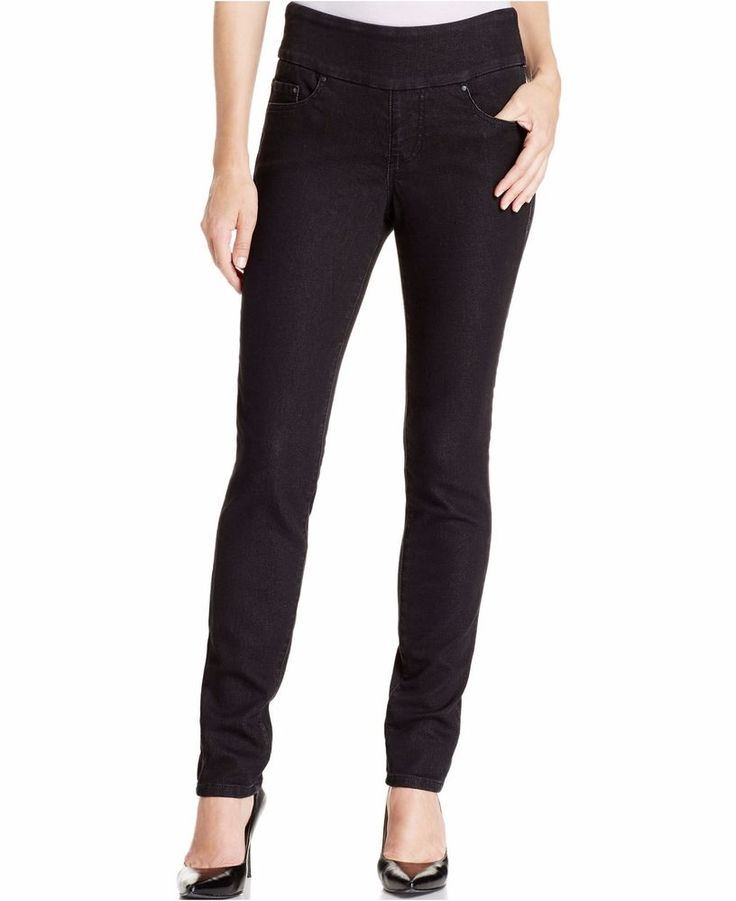 Jag Jeans Petite Nora Pull On Skinny Knit Denim in Black Rinse Women's Jeans  4 P