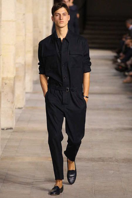 I love a good jumpsuit! (especially for men!) This all black jumpsuit clashes the somewhat femininity of a jumpsuit with the masculine black color and classic tailoring detailing on the garment that provides an unique look. -Hermés SS 2014