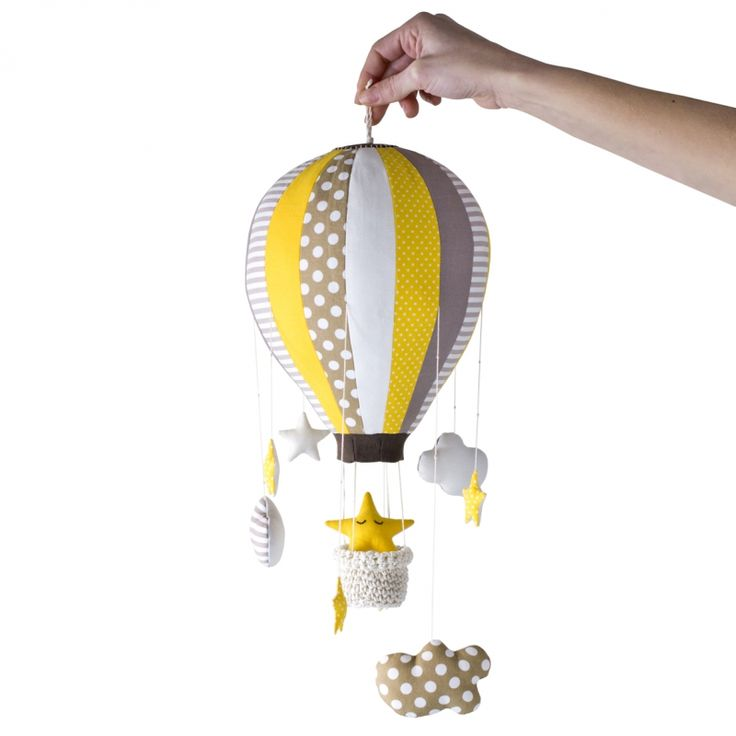 Hot Air Balloon Mobile - 16 segments - Stars and Clouds amigurumi crochet pattern by Jo Handmade Design
