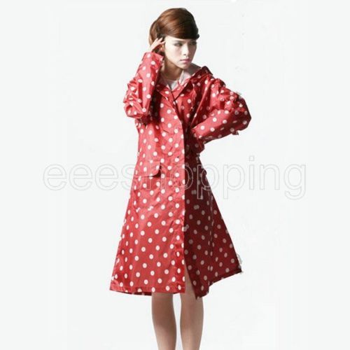 Fashion Women Dot Pockets Cagoule Waterproof Poncho ...