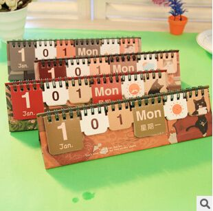 Cheap Novedad Kawaii praga gato diseño DIY calendario de escritorio de papel mesa de útiles escolares calendario, Compro Calidad Calendarios directamente de los surtidores de China:                       &n
