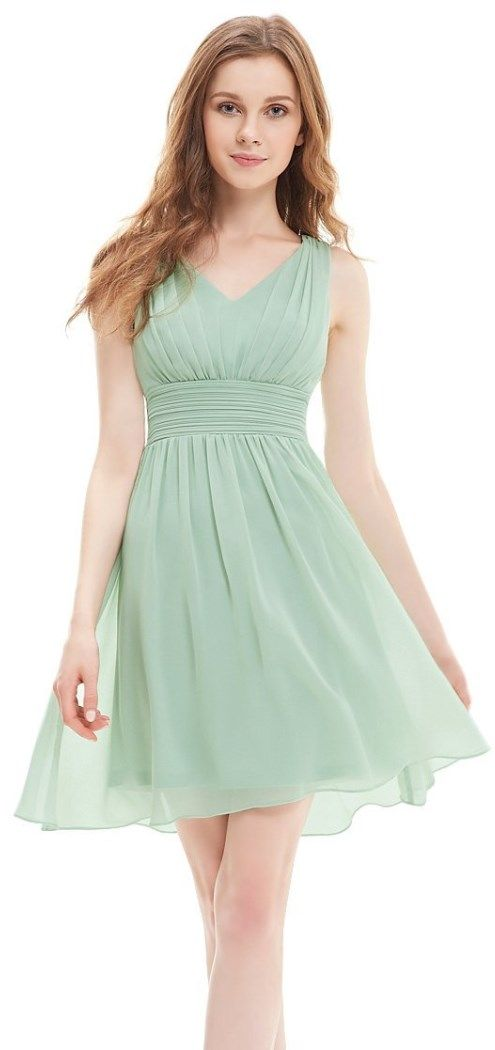 Light Green Sleeveless v-neck short bridesmaids or party dress. Not padded. Unique ruched waist design creates an elegant silhouette. // http://www.cutedresses.co/go/Short-Sleeveless-Empire-Waist-Bridesmaids-Dress