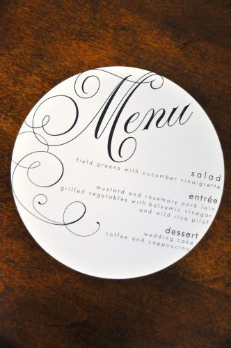 Circular menu - maybe one side have the name for the table assigment, and the menu on the back?