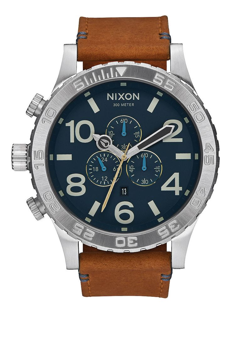 Nixon 51-30 Chrono Leather Watch - Navy/Saddle