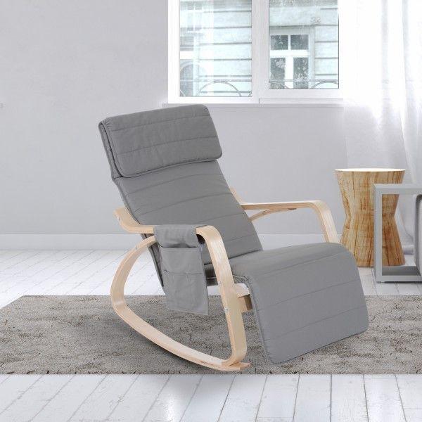 ¿Quieres un sillón para relajarte en casa? Esta silla de relax es ideal para tu hogar. Tiene reposa-piernas ajustable a 5 niveles para que estés cómodo en todo momento. Tiene balancín para que te relajes. También sirve como sillón de lactancia. Medidas: 66,5x88x97,5cm. Puedes comprarla online en https://www.aosom.es/hogar/homcom-silla-de-relax-madera-gris-66-5x88x97-5cm.html con envíos gratis a España y Portugal en 24h/48h.