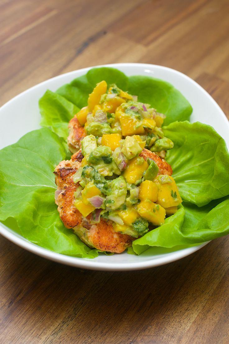 Salmon Burgers With Mango and Avocado Salsa #burgers #healthy #recipe