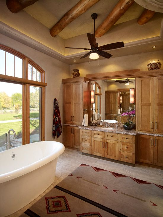 125 best log home ideas my dream images on pinterest for Log cabin bathroom pictures