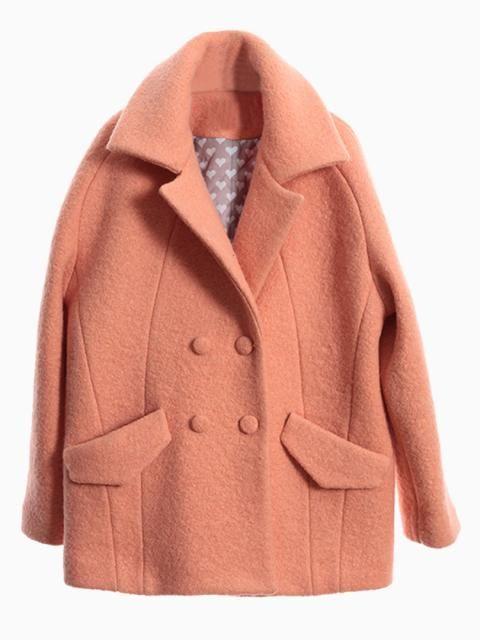 Orange Lapel Double Breast Coat | Choies