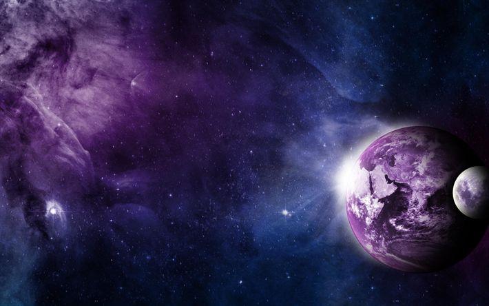 Download wallpapers earth, art, sci-fi, moon, galaxy, universe, nebula