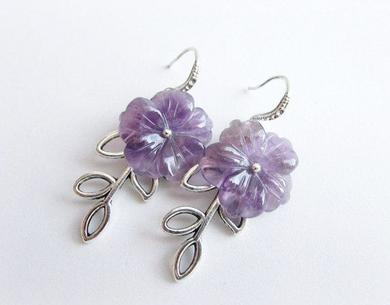 Amethyst earrings floral earrings carved by MalinaCapricciosa