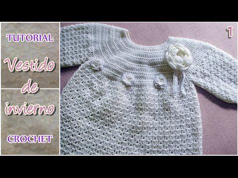 VESTIDO PARA NIÑA INVIERNO A CROCHET PASO A PASO   Patrones Crochet, Manualidades y Reciclado