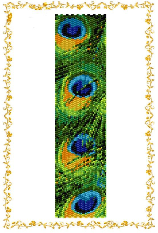 "2drop Peyote beading pattern Bracelet ""Рeacock feather"" . Instant Download. Pattern PDF."