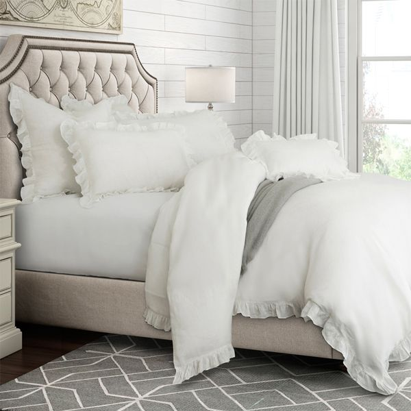 White Linen Duvet Set With Ruffled Border Available In Queen And