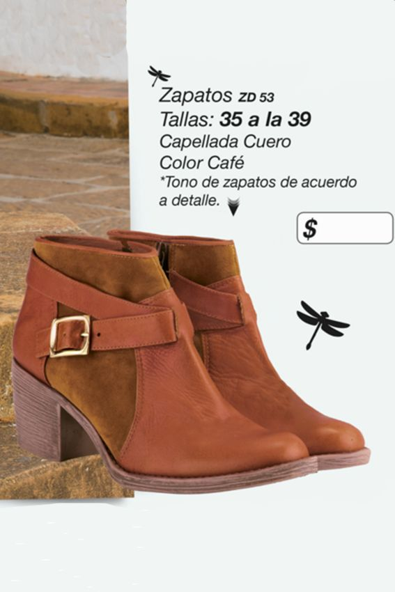 Botines con capellada en cuero Referenia: ZD53 Tallas: 35 a la 39 Color: Café Precio: $90.000