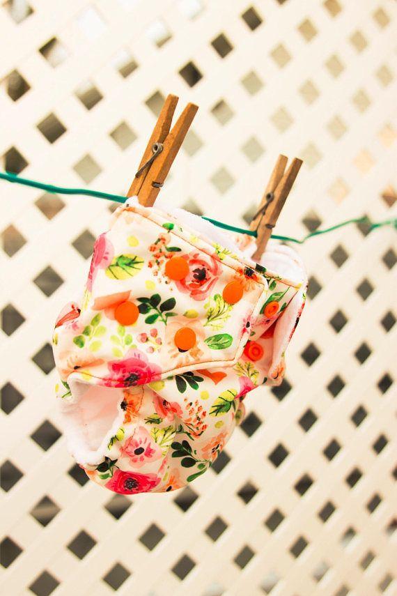 Floral Pocket Diaper with orange snaps