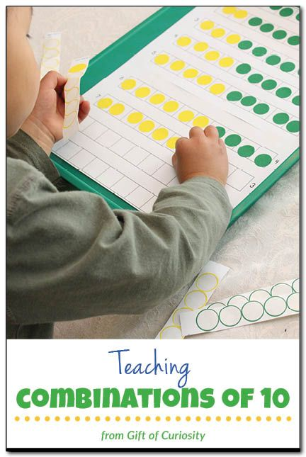 Teaching combinations of 10 - a fun way to teach kids about all the different addition combinations that equal 10. This activity also provides a great introduction to the commutative property of addition, which says that when two numbers are added, the sum is the same regardless of the order of the addends. #handsonmath || Gift of Curiosity