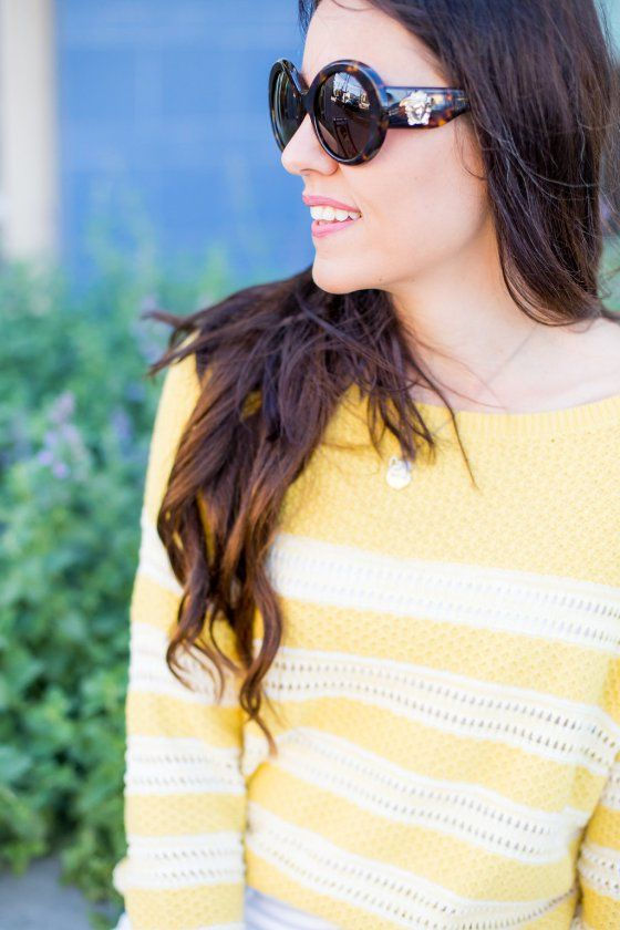 Yellow Stripe Sweater + Shorts | how to style a lightweight sweater | spring style | spring fashion | styling for spring and summer | warm weather fashion | style ideas for spring | fashion tips for spring | lightweight sweater outfit | spring sweater styling tips | Athleisure || The Flexman Flat