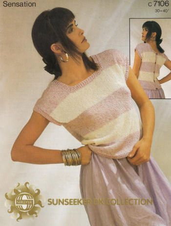 Top with Buttoned Back Vintage Knitting Pattern for download - Six Bust Sizes 30 - 40 inches (76 - 102cm)