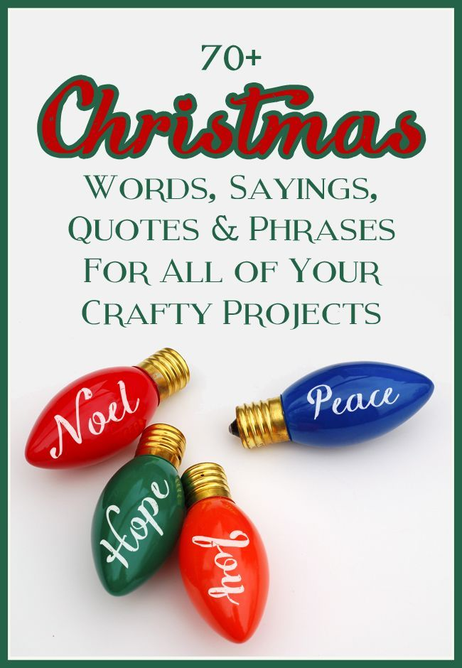 Christmas Sayings, Quotes and Phrases to use for signs, cards, decor, gift tags, etc.