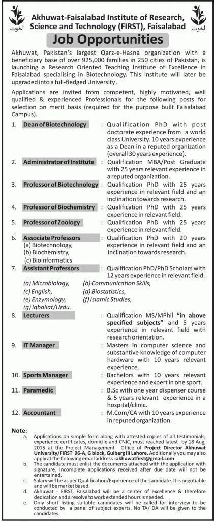 Title:  Jobs for Dean, Administrator, Professor,Associate Professor, Assistant Professoe, Lecturer, Sports Manager, Paramedic, Accountant
