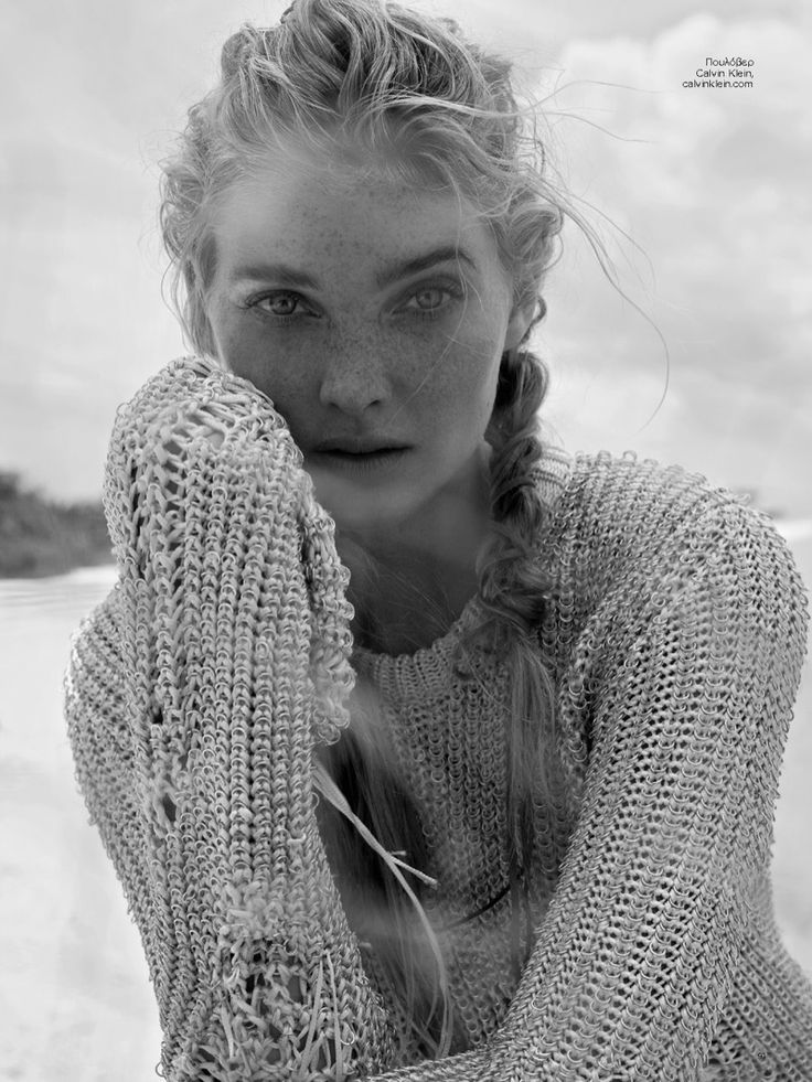 Photographed in black and white, Elsa Hosk wears a knit Calvin Klein piece for Harper's Bazaar Greece Magazine August 2016 issue