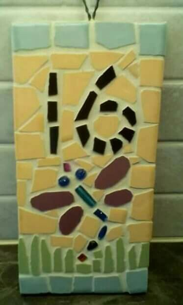 10x20cm Mosaic House Number 16  Dragon Fly