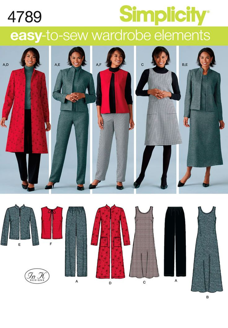 Simplicity Pattern 4789 Misses' & Plus Size Sportswear  Misses' & Plus Size Pants, Vest, Jacket and Jumper