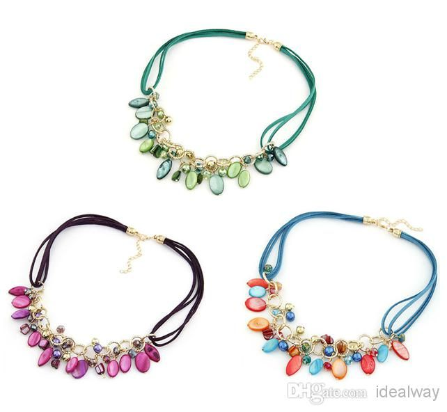 Korea Style Summer Jewelry Leather Chain Crystal Shell Chokers | Buy Wholesale On Line Direct from China