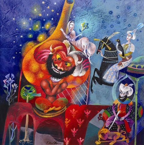 Children's Fairy Tale: Aladdin 2005 Acrylic on cardboard 32X32 (VB08) #art #painting #children www.sunflowers.co.il