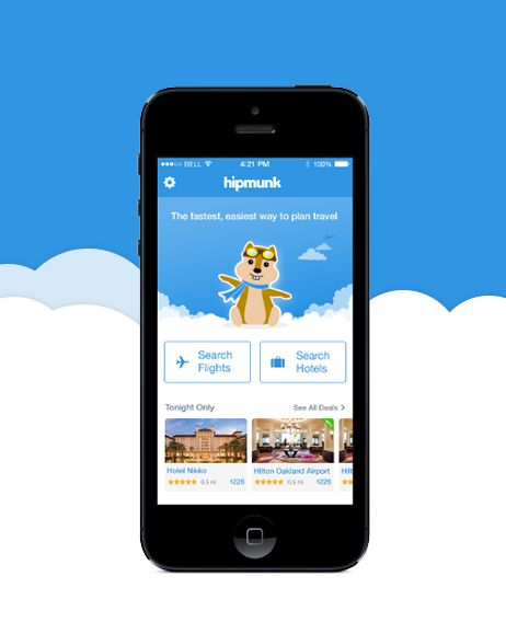 """Pinployee @beltzner  uses the Hipmunk app to """"plan a quick and cheap getaway... great flight and hotel search."""""""