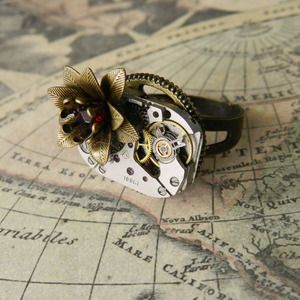 Image of Steampunk Vintage Rose Watch Movement Ring