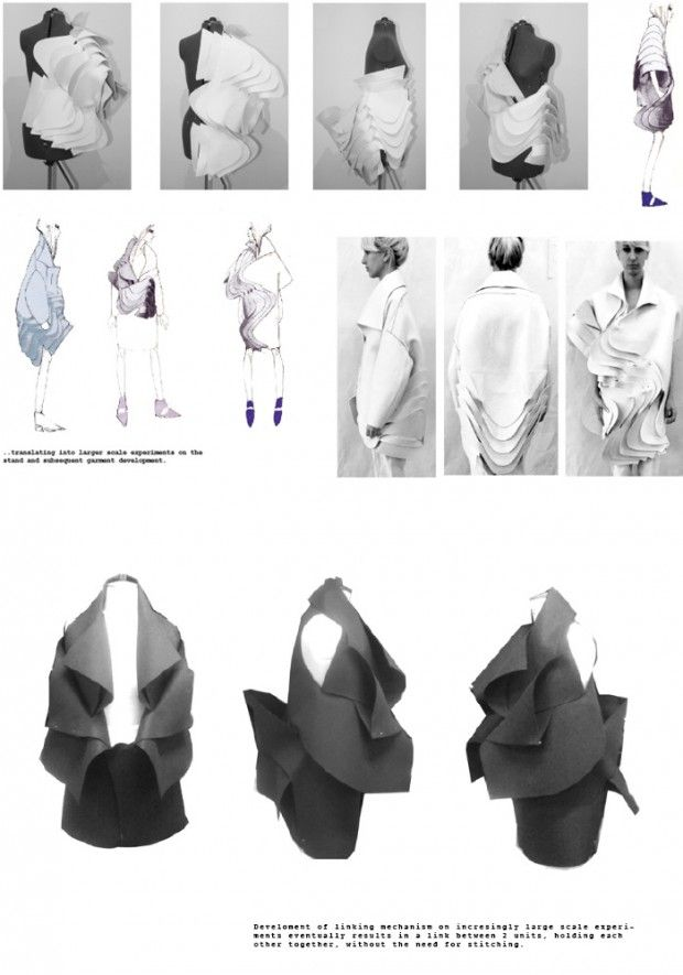 Fashion Portfolio layout - fashion design development of a sculptural garment; fashion sketchbook // Katie Roberts-Wood