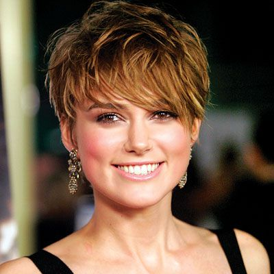 Keira Knightly's short hairstyle with bangs
