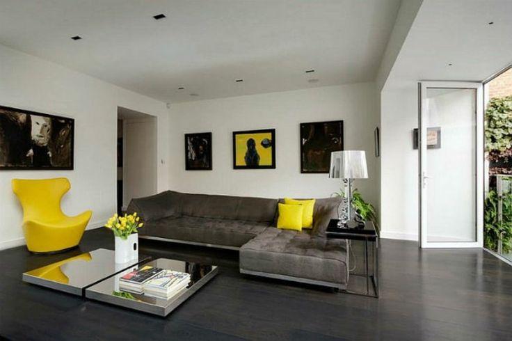 décoration de salon en gris et jaune