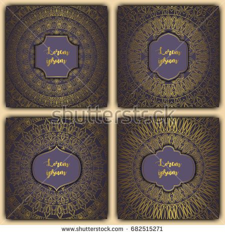 Set of mandala background cards. Vintage luxury glowing elements. Vector decorative retro greeting card or invitation design.
