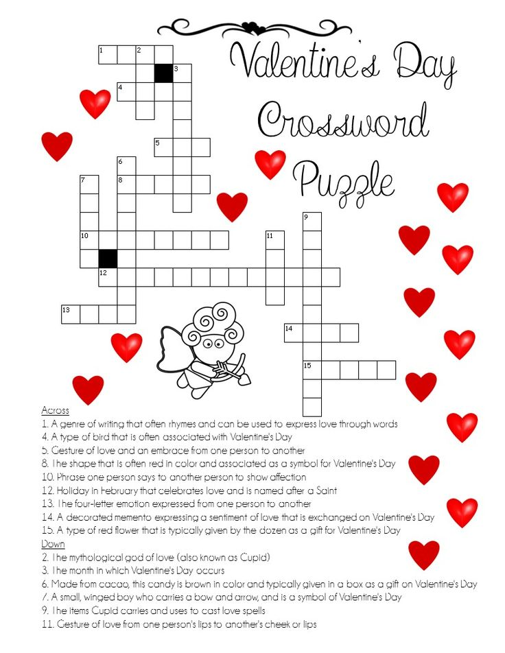 Effortless image throughout valentine crossword puzzles printable